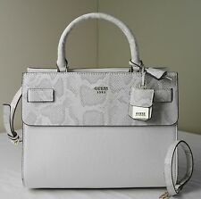 Guess Bone White Python Embossed Cate Satchel