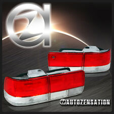 DEPO For 92-93 Honda Accord 4Dr Sedan JDM Red Clear Tail Lights Trunk Lamp