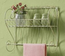 """SONGBIRD COLLECTION WIRE SHELF WITH TOWEL BAR DISTRESSED IVORY 11""""H x 14.5""""W"""