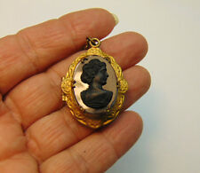 Antique Victorian Cameo Mourning Locket Necklace Brass Jet Estate Picture Inside