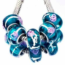 5pcs Navy blue Murano Glass Pink Flower Lampwork Beads Fit European Bracelets
