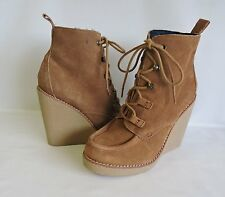Gap San Francisco US 6.5 M Wedge Boots Crepe Suede Lace Up Very Nice (1205