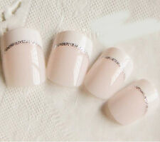 24Pcs Light White Short French Fake Nails Full Cover  Simple Manicure