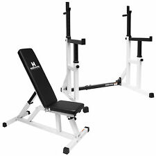 ADJUSTABLE WEIGHT BENCH & HEAVY DUTY SQUAT FRAME RACK/WEIGHTS LIFTING CAGE KIT