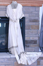 1913 TRAINED ECRU IVORY SILK EDWARDIAN GOWN BEADED NETTING HIGH COLLAR DRAPING