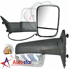 Chrome Power Heated Towing Mirrors Set For 09-15 Dodge Ram 1500 2500 3500 Pickup