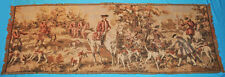 """VINTAGE ITALIAN TAPESTRY WALL HANGING PASTORAL HUNT SCENE DOGS  56"""" x 18-1/2"""""""