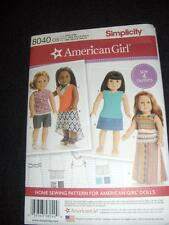 "18""Doll American Girl NEW Simplicity 8040/0170 Pattern 4 Summer Outfits"