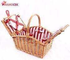 CESTINO PIC NIC 2 PERSONE ATTREZZATO c/STOVIGLIE idea regalo cesto vimini rosso