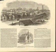 #01-0335 1848 ANTIQUE PRINT (TRAINS) - PETERBOROUGH FAIR - HALF SIZE