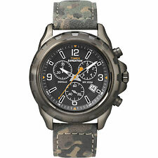 "Timex T49987, Men's ""Expedition"" Camoflage Leather Watch, Chronograph,T499879J"