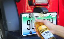 Rear License Plate Mounted Bottle Opener Accessory for Jeep Wrangler TJ Models