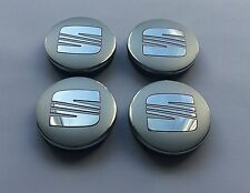 SET OF 4 SEAT ALLOY WHEEL BADGES CENTER HUB CAPS 55mm SILVER CHROME RED LOGO