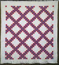 Well Quilted Patriotic ANTIQUE c1880 Red White & Blue Irish Chain QUILT 78x72""