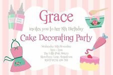 10 PERSONALISED CAKE DECORATING BAKING PARTY INVITATIONS - CUPCAKE BIRTHDAY