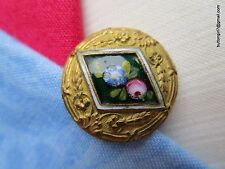 3912 – Gilded Button Diamond Shaped Floral Emaux Peints Enamel - Bouton-Emaille