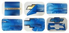 "Blue Carbon Fiber Vinyl Decals (2) 11"" x 5"" U-Cut around Chevy Bowtie Emblems"