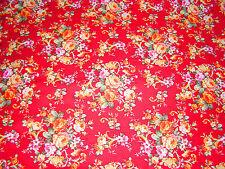 Shabby Tissu Liberty★150 cmx100 cm au metre floral rouge★100% coton★Neuve