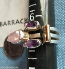 Lilly Barrack Ring with Lavender Quartz Nugget & Amethysts Size 6.75