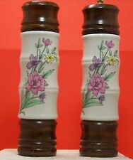 Vintage Spring Flowers Pepper Shaker Grinder White Ceramic w Wood