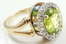 14K Yellow Gold Peridot Diamond Halo Ring Multi Gemstones Size 7