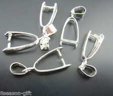 50PCs Silver Plated Pinch Clip Bail Beads Findings 8x23mm