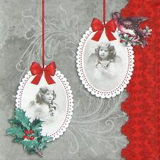 4x Carta Singola Tavola Festa Tovaglioli per Decoupage Decopatch Angelo di Natale