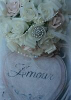 WEDDING FLOWERS DUSKY VINTAGE PINK IVORY ROSES BRIDES BOUQUET PEARLS BROOCH