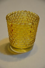 Vintage Amber Yellow  Depression Glass Votive Cup Hobnail Candle Holder 2 1/2""