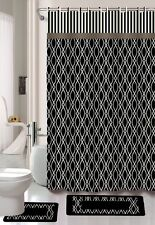 15PC WIRES BLACK WHITE PRINT BATHROOM BATH MATS SET RUG CARPET SHOWER CURTAIN