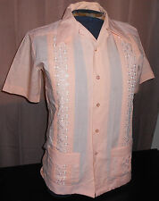 VTG 1950s Guayabera Yucateca~Peach Shirt w/ Embroidery SANFORIZED Rockabilly - S