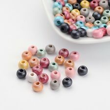 100pcs Mixed Round Wood Wooden Beads Loose Spacer Dyed Multi Color DIY Craft 6mm