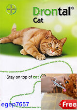 Drontal for Cat Allworms, Round and Tap Worm 10 tablets Bayer Dewormer Genuine