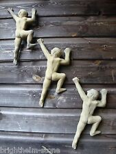 NAKED CLIMBING MAN frost proof STONE WALL PLAQUE ORIGINAL SET OF 3 CLIMBING MEN