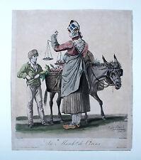Carle Vernet La March de Cerises Original 1837 Esel Donkey Kirschverkäuferin