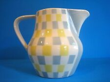 Art Deco Pitcher Waku Feuerfest German Pottery Gray Yellow Rectilinear White Vtg