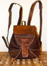 Recycled Raw natural Leather Handmade Backpack / Brown