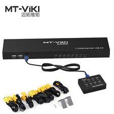 MT-VIKI 8 Port KVM Switch Manual Key Press VGA USB w/ Remote Extension Switcher