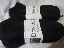 Davido Mens socks ankle low cut 100% cotton made in Italy black-8 pair size10-13