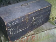 """Antique Pine Wood Painted Immigrant Trunk Chest Document Box 26"""" x 13"""" x 12"""""""