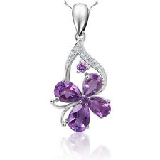 Women's 925 Sterling Silver Purple Crystal Pendant Necklace Fashion Jewelry
