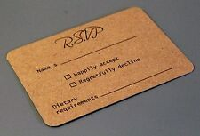RSVP cards and envelopes in packs of 10. A7 Kraft. Can be personalised