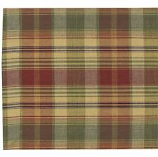 TABLE RUNNER 13X54 IN COUNTRY PLAID BURGUNDY GREEN GOLDEN TAN SAFFRON COTTON