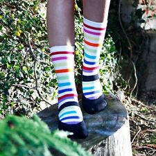 K.Bell Black White Bright Stripe Mary Jane design  Socks Crew Womans Socks New