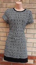 COLLECTION BLACK WHITE ABSTRACT STRIPE SMOCK TUBE BAGGY RARE DRESS 12 M