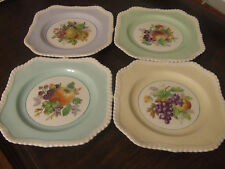 4 Vintage Johnson Brothers Square Braided Plate Fruit Motif Muti Color EUC