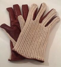 VTG Toffee Brown Cotton&Leather Lined Driving/Cycling/Winter Mens Gloves Size M