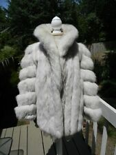 THICK & SOFT! Natural blue FOX fur jacket white - MEDIUM/LARGE - SHORT SLEEVES