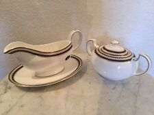 "Aynsley, John ""Blue Orient"" Gravy Boat, Underplate & Sugar Bowl & Lid. England."