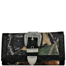 BLACK MOSSY CAMO RHINESTONE BUCKLE LOOK CHECKBOOK TRIFOLD WALLET NEW